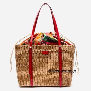 NWT Frances Valentine Large Woven Basket Tote